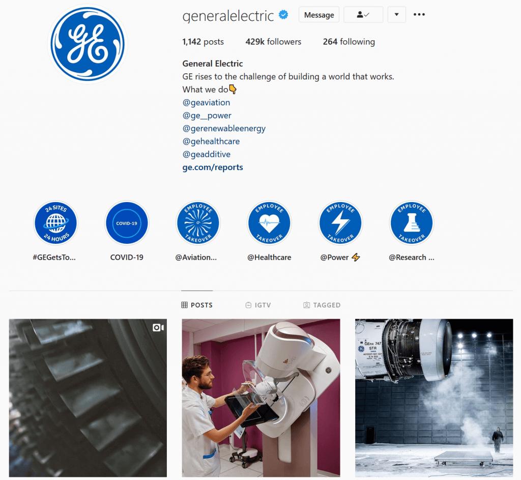 L'account instagram di General Electric