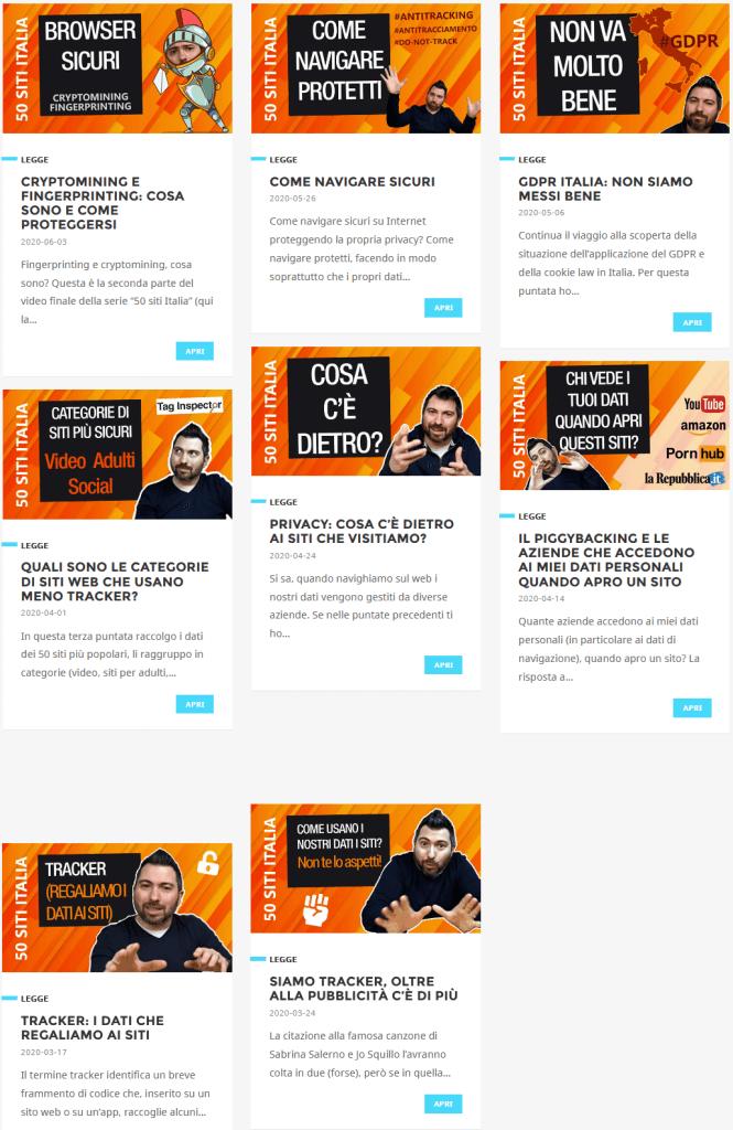 la web serie sui tracker e i 50 siti più popolari in Italia in collaborazione con iubenda e taginspector
