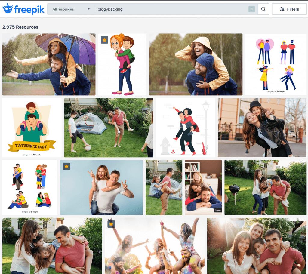 """risultati della ricerca di """"piggybacking"""" su freepik"""