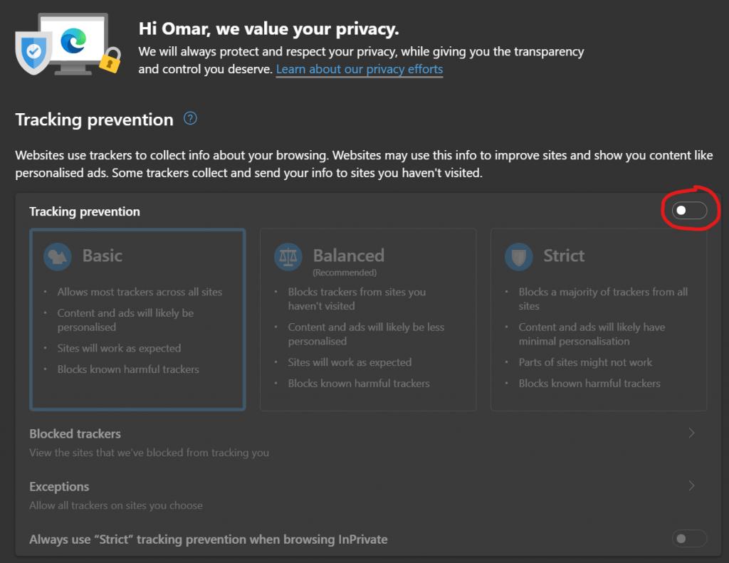 La prevenzione del monitoraggio di Microsoft Edge è spenta per impostazione predefinita.