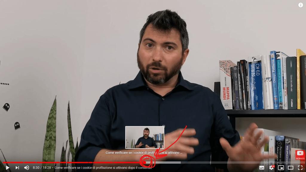 Il capitolo del mio video che parla di come verificare se il blocco preventivo dei cookie è stato implementato correttamente