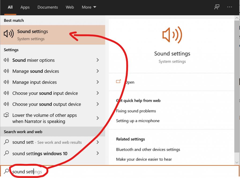 Le impostazioni audio (sound settings) in windows 10