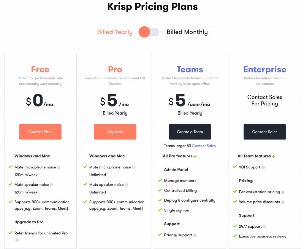 Il piano di abbonamento di Krisp