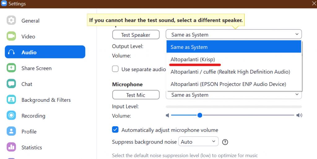 Altoparlanti virtuali per migliorare l'audio di Zoom dei partecipanti