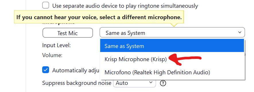 Selezione del microfono Krisp nelle impostazioni Audio di Zoom